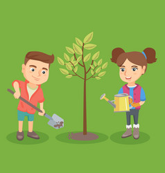 little caucasian boy and girl planting the tree vector image