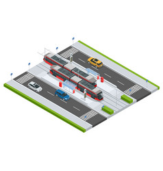 modern tramway on the stop and cars on the road vector image vector image