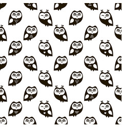 Seamless pattern with black owls vector