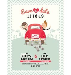 Just married car wedding invitation vector