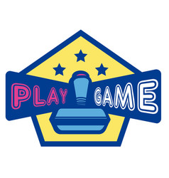 play game joystick three star hexagon frame backgr vector image
