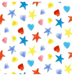 Seamless pattern with stars and hearts vector image vector image