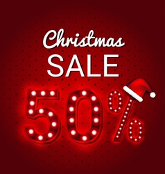 Christmas sale 50 Percent Discount retro sign vector image