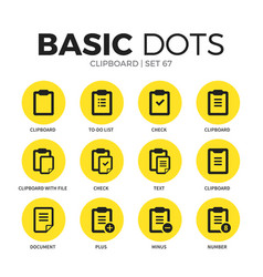 clipboard flat icons set vector image vector image