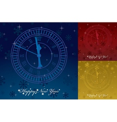 happy new years greeting card with clock and seaso vector image vector image