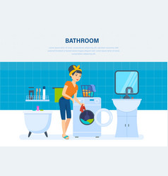 housewife in bathroom cleaned things and washed vector image