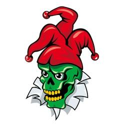 joker skull cartoon vector image vector image