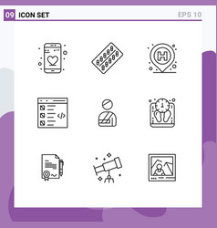 9 universal outlines set for web and mobile vector