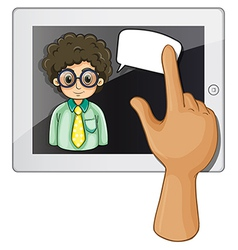 A finger touching gadget with a curly-haired vector