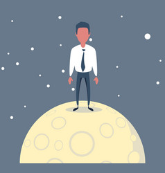 A lonely man is sitting on big bright full moon vector
