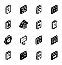 App design glyph isometric icons vector