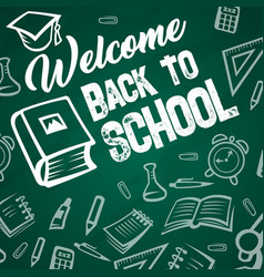 Back to school book on chalkboard vector