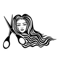 Beautiful woman and scissors vector