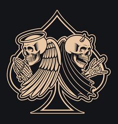 Black and white an angel skeleton versus vector