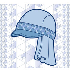 blue cap with geometric pattern vector image