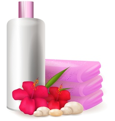 Bottle of shampoo with hibiscus vector