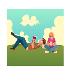 Boy man reading book lying woman girl using vector