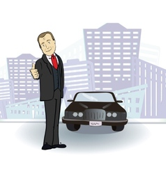 Businessman and car Rich man in the city vector image