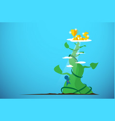 Businessman climbing giant beanstalk to get reward vector