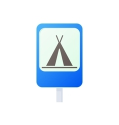 Camping traffic sign icon cartoon style vector