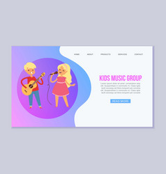 cartoon kids playing musical instruments and vector image