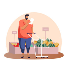cartoon man with shopping list and cart or trolley vector image
