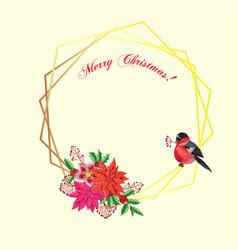 Christmas decoration with bird and poinsettia vector