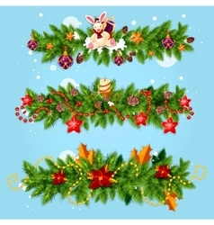 Christmas garland for Xmas greeting card design vector
