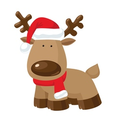 Christmas Reindeer standing in Santas red hat vector image