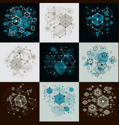 collection of bauhaus retro wallpapers art vector image