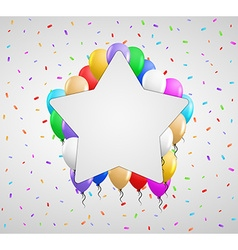 Color balloons and white badge vector
