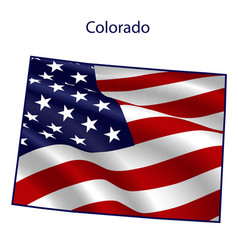 Colorado full american flag waving in wind vector