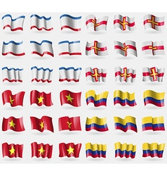 Crimea Guernsey Vietnam Colombia Set of 36 flags vector