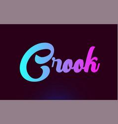 Crook pink word text logo icon design vector