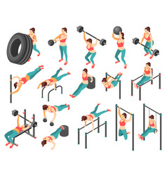 Crossfit workout isometric set vector