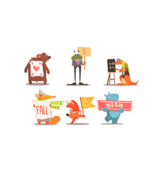Cute humanized animals set funny animals with vector