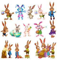 Different characters bunnies vector