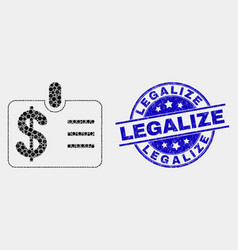 Dot dollar badge icon and grunge legalize vector