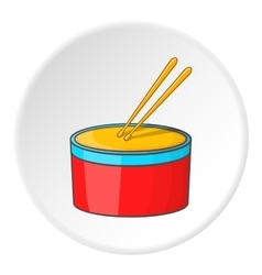 Drum and drumsticks icon cartoon style vector
