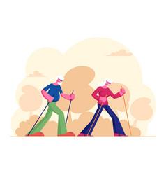 Elderly people nordic walking open air workout vector