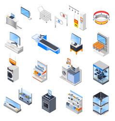 Electronics supermarket icon set vector