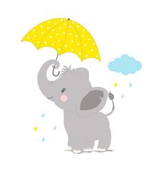 Elephant under umbrella vector