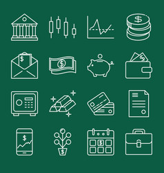 Finance and money icon collection in line style vector