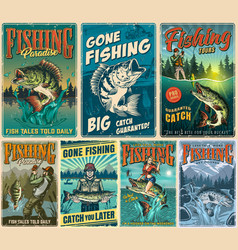 Fishing vintage posters set vector