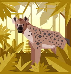 Flat geometric jungle background with hyena vector