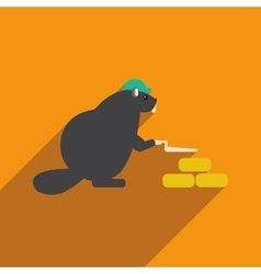 Flat icon with long shadow beaver builder vector