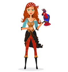 Frowning pirate cheerful girl with parrot strict vector