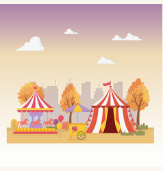 Fun fair carnival tent carousel ice cream booth vector