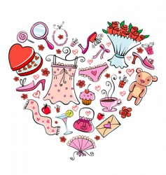 Gifts for girl heart shape vector