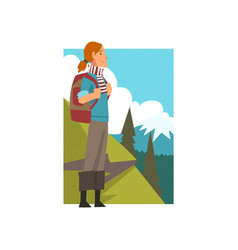 girl with backpack in summer mountain landscape vector image